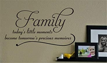 Mikayut Wall Sticker Vinyl Wall Decals Quotes Sayings Words Art Deco Lettering Family Today's Little Moments Become Tomorrow's Precious Memories for Living Room