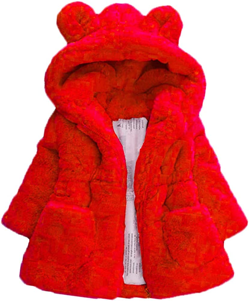 Mallimoda Girls Winter Warm Max 68% OFF Coats Ear Fur Faux Hooded Fleece Jac Regular discount