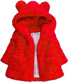 Mallimoda Girls Winter Warm Coats Ear Hooded Faux Fur Fleece Jacket