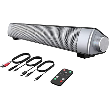 VersionTECH. PC Soundbar,Wired & Wireless Bluetooth BT Computer Speakers with Remote Control,Portable USB Home Theater Stereo Sound Bar for Desktop Laptop TV Cellphone MP4 [RCA, AUX]
