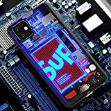 Light Glow case for iPhone 11 pro case with Screen Protector Cute for Men HybridLight up Glowing Sup Circuit Board Glow case Hard TemperedGlass Luminescent Anti-Scratch Shockproof Case Clear Cover