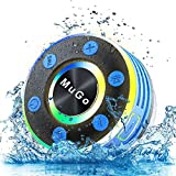 MuGo Bluetooth Shower Speaker, IPX7 Waterproof Bluetooth Speaker with Suction Cup, Wireless Portable Shower Speaker Handsfree with Mic, 8H Playtime TWS Stereo for Bathroom, FM Radio Light Show