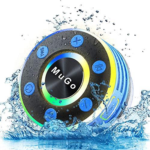 MuGo Bluetooth Shower Speaker, IPX7 Waterproof Bluetooth Speaker with Suction Cup, Wireless Portable Shower Speaker Handsfree with Mic, 8H Playtime...