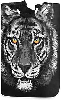 LDIYEU Art De Tigre Noir Grand Panier à Linge Pliage Étanche Rangement Corbeille à Linge avec Poignées pour Maison Buanderie