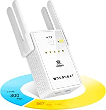 WiFi Range Extender 1200Mbps Signal Booster, Dual Band 5GHz & 2.4GHz Wireless Extender Internet Amplifier, with 2 Ethernet...