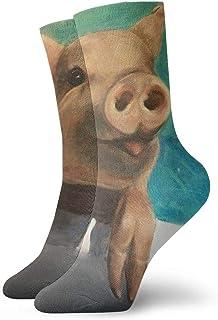 tyui7, Lindo cerdo de natación que sobresale Lengua Calcetines de compresión antideslizantes Calcetines deportivos acogedores de 30 cm para hombres, mujeres y niños