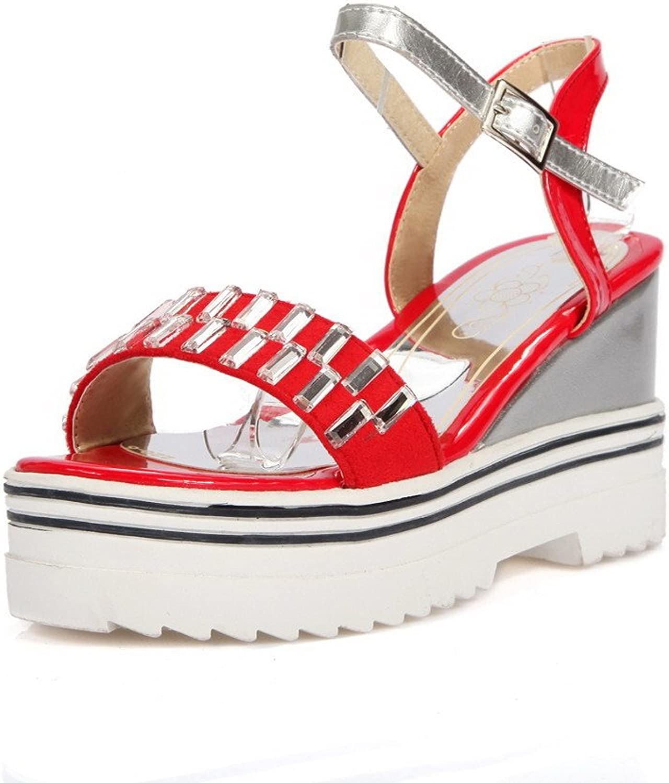 WeenFashion Women's PU Solid Buckle Open-Toe High Heels Sandals