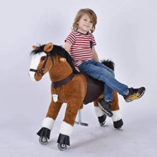 UFREE Ride on Horse for 4-9 Years Old, Height 36 Inch Medium Size Brown, Black Mane and Tail Rocking Horse for Kids as Great Birthday Gift Ride on Pony Horse Mechanical Moving Horse