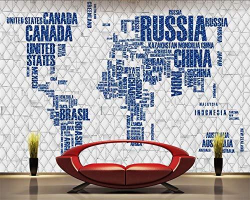 Behang, aanpassen van 3D-behang driedimensionaal soft pak Engels alfabet wereldkaart Creative Series Hd Print Kunstdruk Poster afbeelding muurschildering grote zijde muurschildering voor woonkamer slaapkamer 280cm(H)×460cm(W) zoals getoond