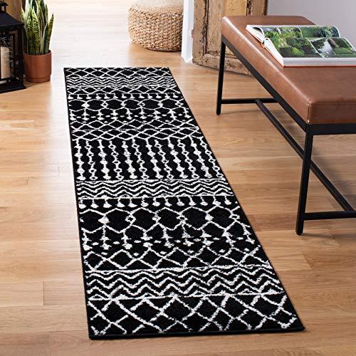 Safavieh Arland Bohemian Area Teppich, gewebter Polypropylen-Teppich in 90 x 150 cm Schwarz / elfenbeinfarben