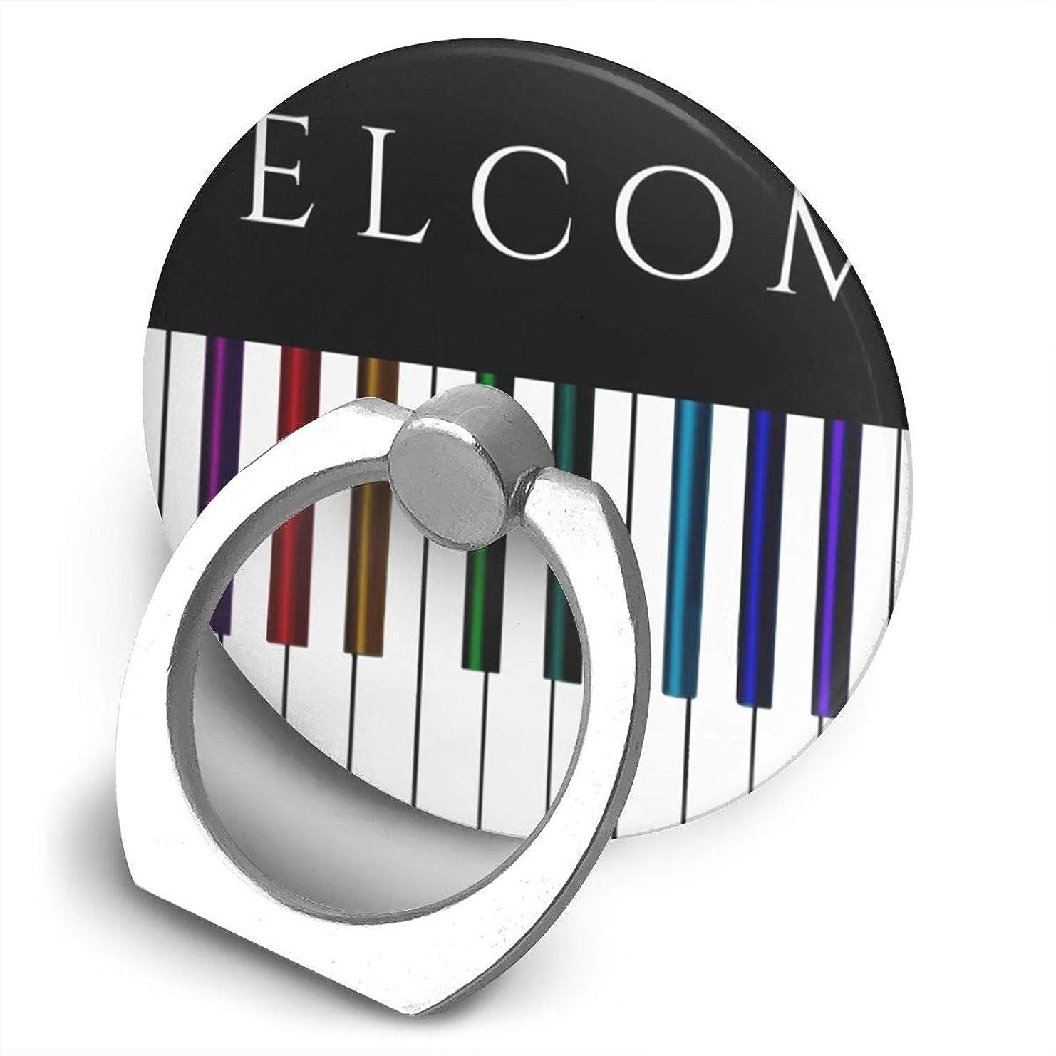 使役空白蓋カラフルな音楽 ピアノキー スマホリング 丸型 落下防止リング スタンド機能 スマホリング 薄型 360回転 ホールドリング スタンド機能 指スピナー ストレス解消 粘着力抜群