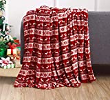 Elegant Comfort Luxury Velvet Super Soft Christmas Prints Fleece Blanket-Holiday Theme Home Décor Fuzzy Warm and Cozy Throws for Winter Bedding, Couch and Gift, 50 x 60 inch, Double Reindeer