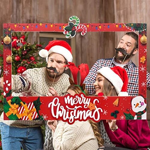 JoyTplay Rifornimenti delle Decorazioni della Festa dell'Inverno di Festa della Cornice della Foto e di Photo Booth di Buon Natale (Rosso)