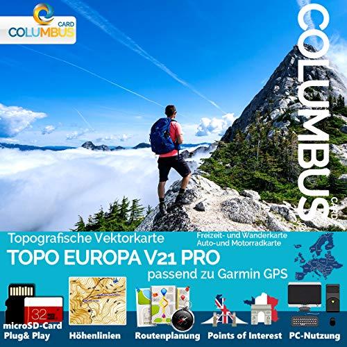 EUROPA GPS Karte Topo Höhenlinien microSD Outdoor Topo Karte - kompatibel mit Garmin GPS Geräten - NEU Komplett Europa
