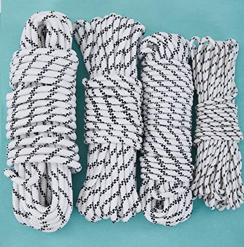 CasaXXl 20m Polypropylen Seil Ankerleine Bootsseil Tauwerk in schwarz-weiß - Robuste & wetterfeste Seile in verschiedenen Größen (10mm)