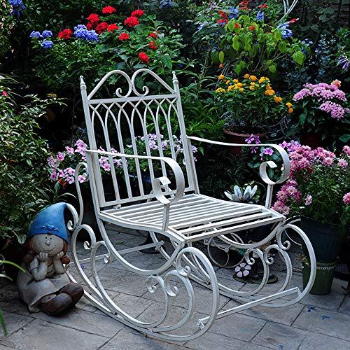 zenggp Veranda Schaukel Schaukelstuhl Robustes Metall Sessel Gartenmöbel Im Freien Schaukelsitz Vintage-Stil,White