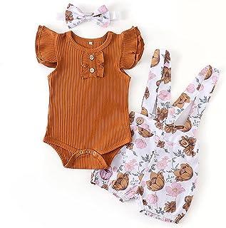 الوليد طفلة ملابس مجموعة الصيف ل outfits الرضع بلون رومبير زهرة السراويل عقال الأزياء 3 قطع الملابس طفل (Color : Brown, Ki...