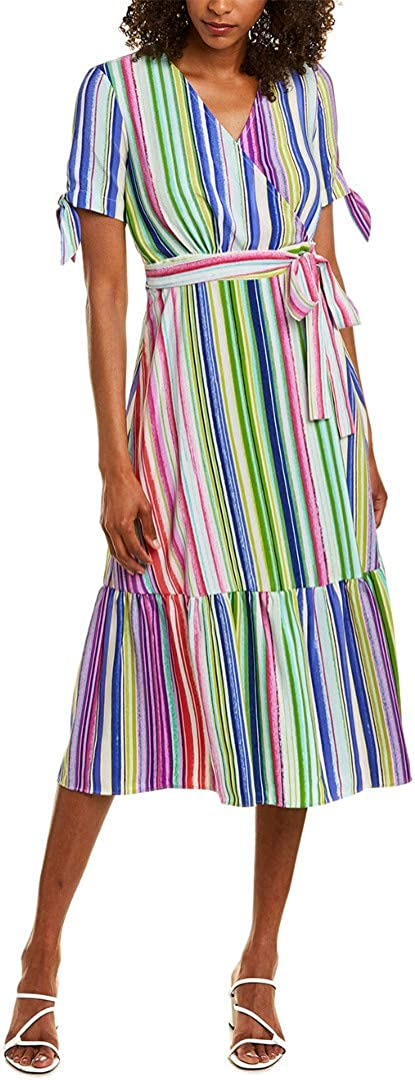 Maggy London Women's Multi Stripe Short Sleeve Fit and Flare