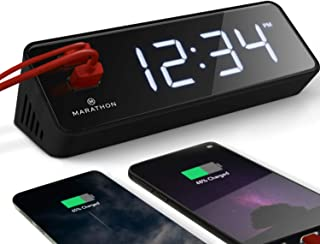 Marathon USB Clock Charger With 2 Front Charging Ports. Hotel Collection With Universal AC Adapter. Emergency Backup Batteries Included. Color – Black Case with Light Blue LED Digits. SKU – CL030055BK