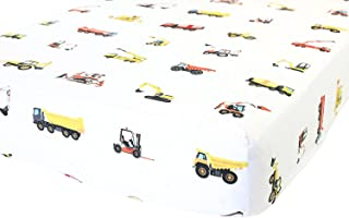 100% Organic Cotton Fitted Crib Sheet by - Premium Baby Bedding - Soft, Breathable & Durable (Crib Sheets Boy - Construction)