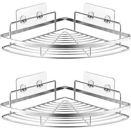 浴室ラック コーナーラック 三角ラック 浴室用ラック バスルーム掛けラック収納ラック 粘着式又はねじ 洗面所ラック キッチン収納 2個(Large ) …