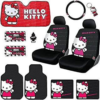New 12 Pieces Hello Kitty Car Seat Cover with 4 Rubber Mats, License Plate Frame, CD Visor Organizer, Steering Wheel Cover, Large Size Sunshade, Key Chain and Air Freshener