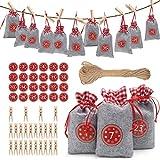 ASANMU Adventskalender zum Befüllen, 24 Filzsäckchen, Bunte Natur Organza Beutel, Jutesäckchen Weihnachtskalender Stoffbeutel Geschenkverpackung für Weihnachten Kinder DIY Handwerk Dekoration