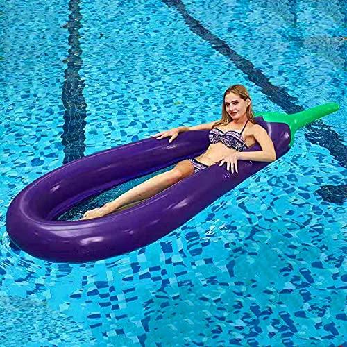 Malla de flotador de la piscina, fila flotante de la berenjena con red sobre el agua inflable reclinable berenjena berenjena anillo de natación plegable cama flotante adulto inflable Fila flotante