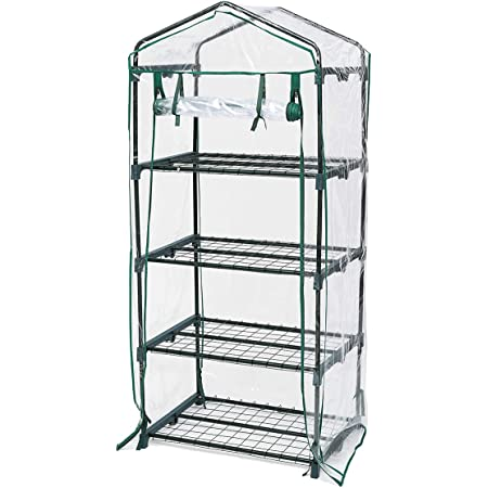 "TOOCA Mini Greenhouse 4-Tier 27"" X 19"" X 63"" Portable Plant Greenhouse for Indoor Outdoor Gardens/Patios/Backyards"