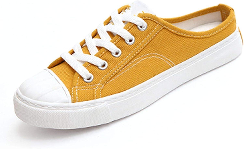 Biu-biu fashion-sneakers Women Canvas shoes Slip on Slide Casual shoes Solid color Yellow White shoes Flat HEE