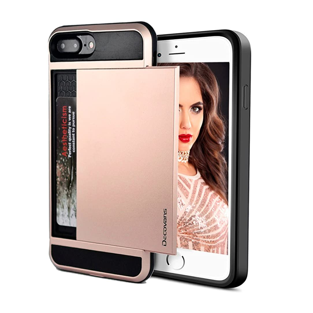 Card Slot Case for iPhone 7 Plus/iPhone 8 Plus Hybrid Card Slide Case Impact Resistant Bumpers Cover Shell Dual Layer TPU Credit Card Sliding Hard Phone Case Decovans DP20 Protective Case -Rose Gold