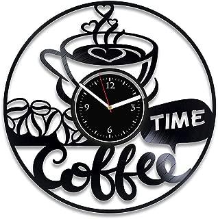Clock Coffee Time Vinyl Record Clock Beverage Clock 12 Inch Coffee Time Vinyl Art Coffee For Man Drink Wall Clock Vintage Coffee Home Decor Birthday For Her Coffee Xmas Idea Beverage Vinyl Clock