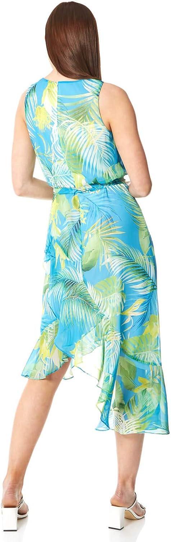 Ladies Spring Summer Sleeveless Round Neck Race Day Special Occasion Wedding Guest Evening Ruffle Frill Dresses Roman Originals Women Leaf Print Halter Neck Midi Dress