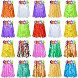 Sumind 20 Faldas de Hierba de Fiesta Hawaiana de Hula Falda Corta de Hierba de Plástico Falda Colorida de Baile para Día del Niño Actuación de Jardín de Infantes Fiesta de Playa (12 Pulgadas)
