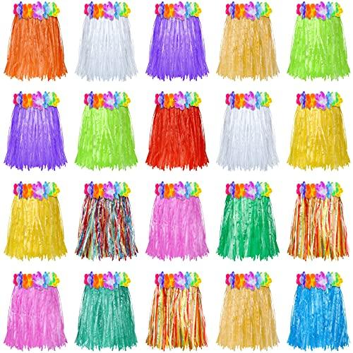 Sumind 20 Pièces Jupes Herbe de Fête Hawaïennes Jupe Herbe Courte Plastique Jupe Herbe de Danse Colorée pour Fête Enfants, Fête Été, Fête sur Plage, Fête d'anniversaire (12 Pouces)