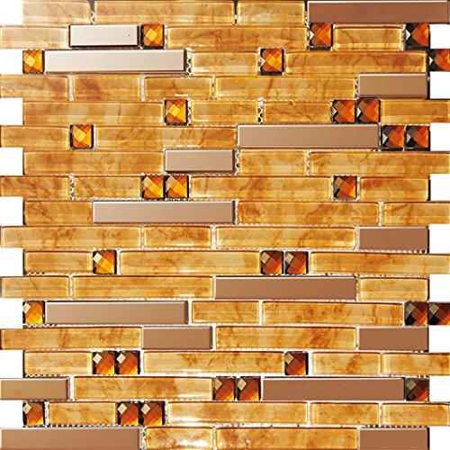 NEW !Lucente Mosaico allungata Tailles mixtes mosaico quadrato Vetro e acciaio inox mosaico mattonelle arte della parete 300*300mm--Cucina Backsplash/Parete da bagno/decorazione domestica(SA047-15/17/26/33) (1 tappetini (300*300mm), SA047-39)