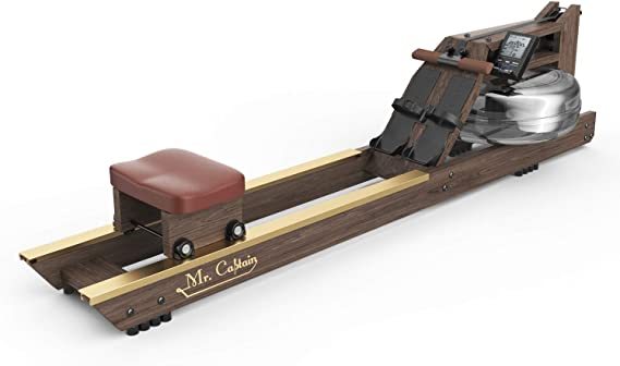 Mr Captain Water Rowing Machine for Home Use,Water Resistance Wood Rower with Bluetooth Monitor,Indoor Fitness Exercise Sports Equipment