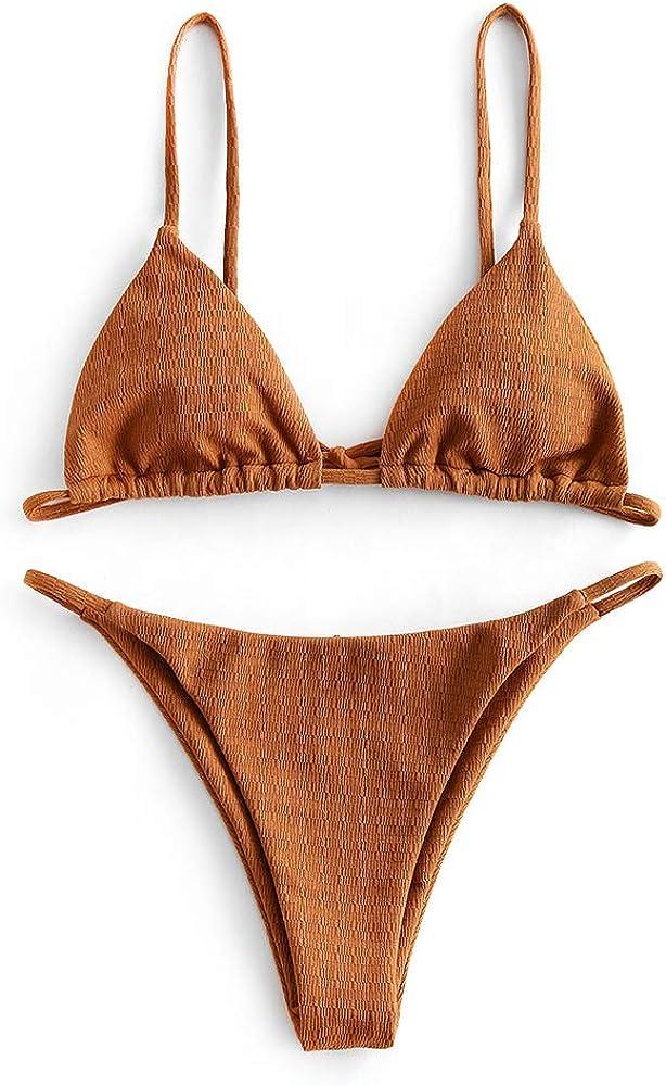 ZAFUL Women Ribbed O-Ring String Bikini, Low Waisted Spaghetti Straps Swimsuit