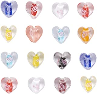 Craftdady 100Pcs Random Mixed Colors Handmade Luminous Lampwork Glass Bumpy Heart Spacer Beads with Inner Flowers 15-16x15-16mm for DIY Jewelry Craft Making