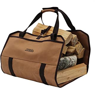 Snitsla Carrywood - A Firewood Log Carrier Canvas Tote Bag with Pockets – with a Short Padded Handle and Shoulder Straps - Easy to Carry with Room to Bring Fire Accessories