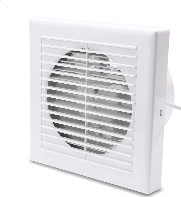 Hotmigao Ventilador extractor de 100 mm de diámetro, ventilador de pared con interruptor, para cocina, baño, color blanco, silencioso