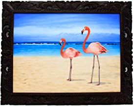 バリ島絵画 フラミンゴ アクリル絵画