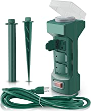 Plugs Outdoor Power Stake Timer with Waterproof Safety Cover,Weatherproof Power Strip Timer Switch,Double Sided 6-Outlet Yard Power Stake with 6 ft Outdoor Extension Cord