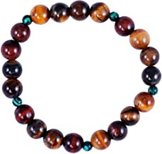 Il Signor Mens Tiger Eye Beads Earth Stone Bracelet, 19 cm