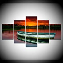 ZFKOB 5 panel decoration home art painting Canvas Painting wooden boat in river sunset 5 Pieces Wall Art Painting Modular Wallpapers Poster Print living room Home Decor