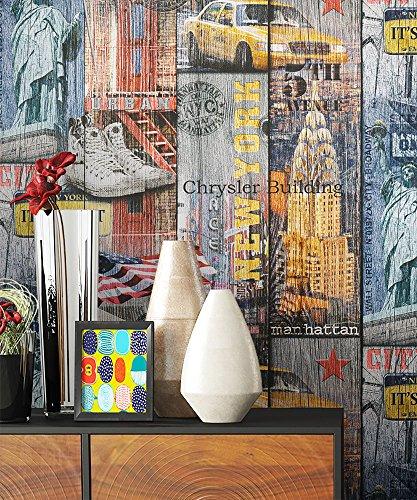 NEWROOM Tapete Bunt Holzplanken Städte Urban Papiertapete Papier moderne Design Optik Holztapete Holzwand Naturholz Holzpaneele Jung inkl. Tapezier Ratgeber