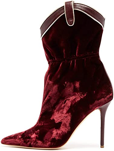 Chaussures Pour Femmes Velours Pointu Stiletto Bottines Courtes Chaussettes De Mode Bottes,rougewine,38