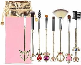 Coshine 8pcs Sailor Moon Makeup Brush Set With Pouch, Magical Girl Gold Cardcaptor Sakura Cosmetic Brushes With Cute Pink Bag