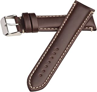 Hadley Roma MS885 24mm Long Watch Band Brown Oil Tan Leather Contrast Stitch