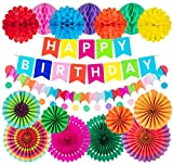 Colorful Birthday Party Decorations Paper Fans Pom Poms Flower Polka Dot String Happy Birthday Hanging Banner Recyclable Party Supplies for Birthday Wedding Mexican Party Decor